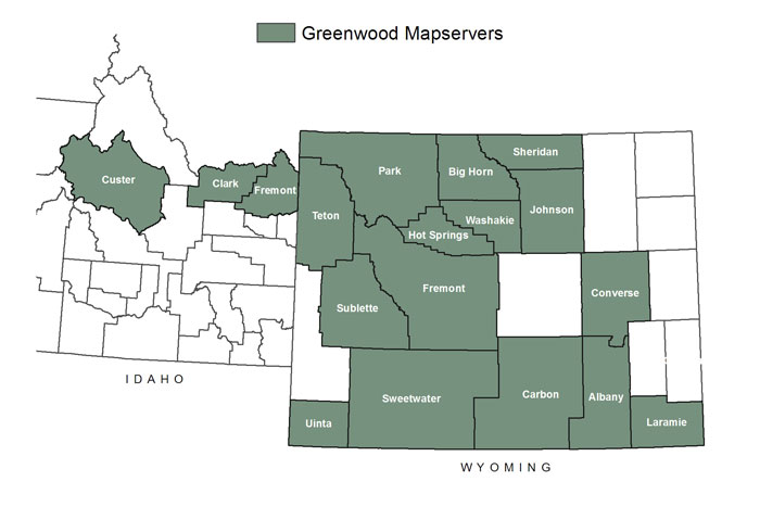 Greenwood Mapping, Inc. Projects on park county map server, custer county map server, lincoln county map server, sheridan county map server,